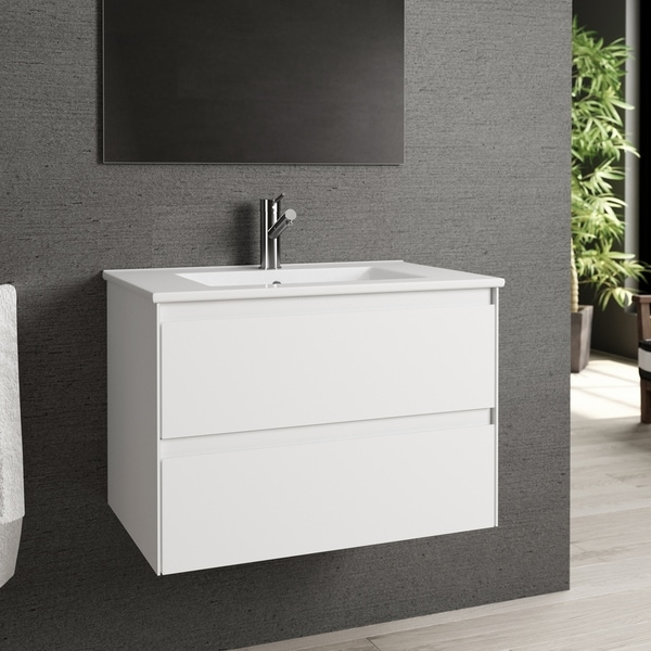 "Eviva Bloom 28"" Matt White Bathroom Vanity"