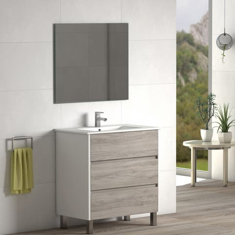 "Eviva Majesty 32"" Pine Grey Vanity with White Sink"
