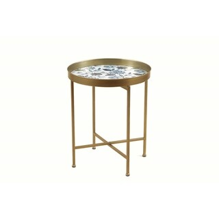 Classic Floral Glass and Brass Finish SideTable