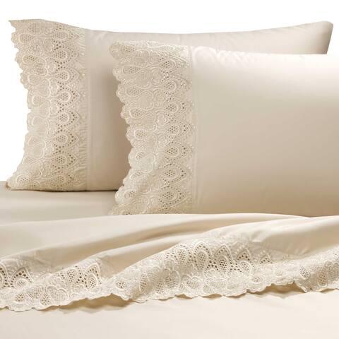 AURAA Smart 600 Thread Count Cotton Rich Pillowcases, LACE Hem Sateen