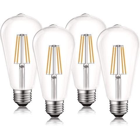 Luxrite Vintage LED Edison Bulb 60W Equivalent, ST19 ST58, 2700K Warm White, 550 Lumens, Dimmable, E26 Base (4 Pack)