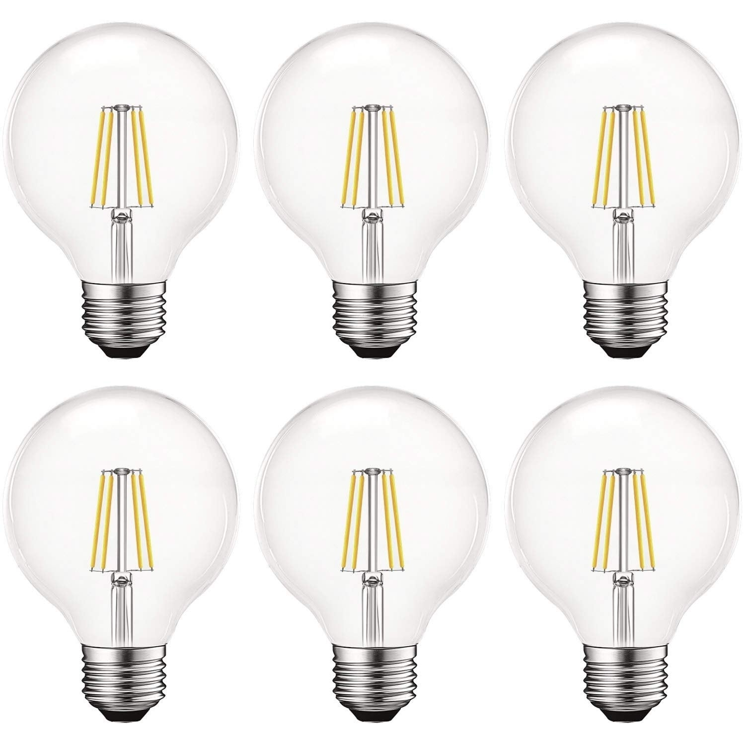 550 Lumens 6 Pack Luxrite Vintage G25 LED Globe Light Bulbs 60W Equivalent Clear Glass E26 Standard Base 5000K Bright White Dimmable Round Edison Bulb 5W LED Filament Bulb
