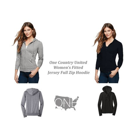 One Country United Women's Fitted Jersey Full- Zip Hoodie