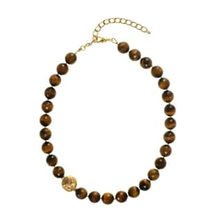 Tiger S Eye 12mm Single Row Necklace Tigers Eye