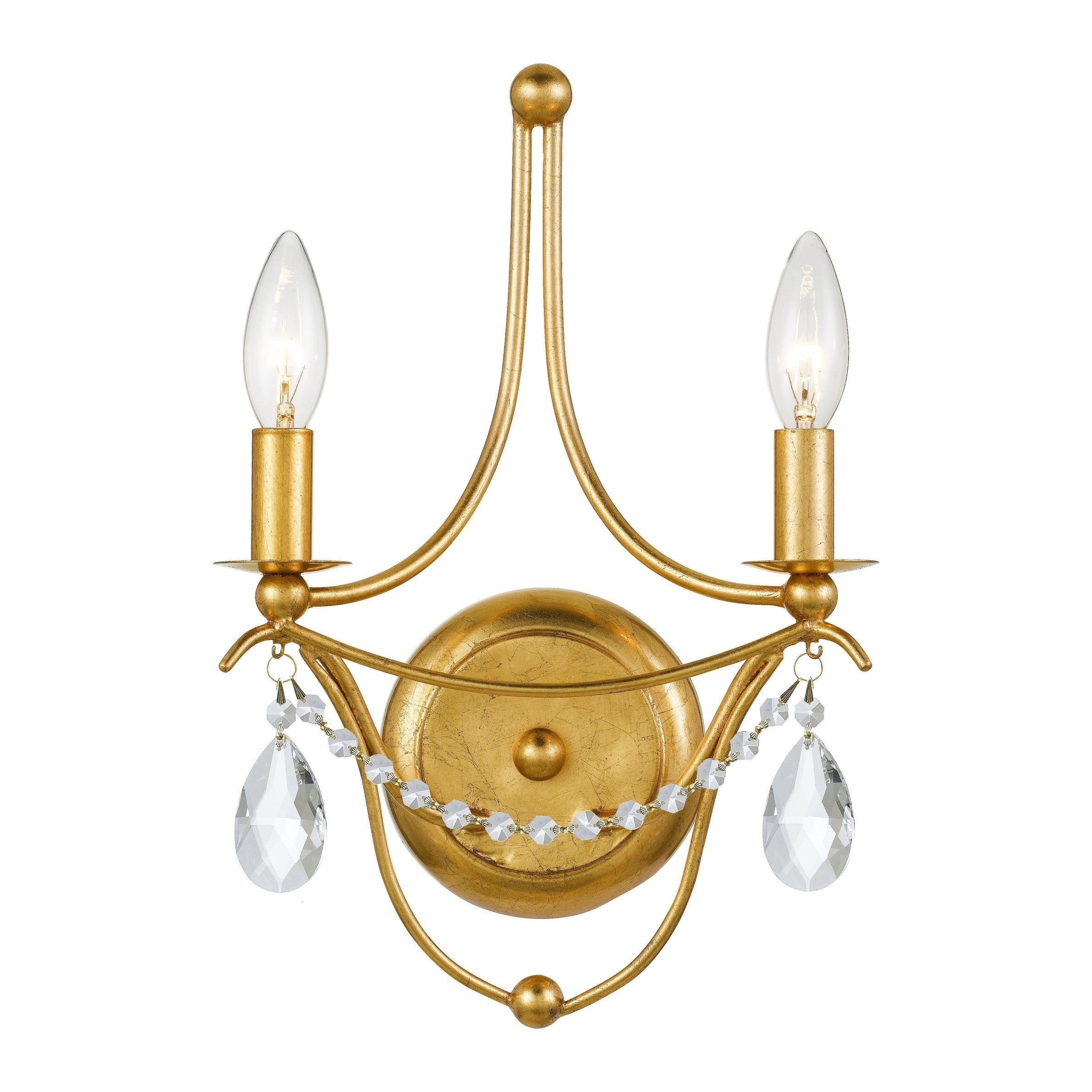 Image of: Shop Black Friday Deals On Metro 2 Light Antique Gold Spectra Crystal Wall Sconce Overstock 28962647