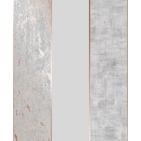 Milan Stripe Rose Gold and Grey Wallpaper