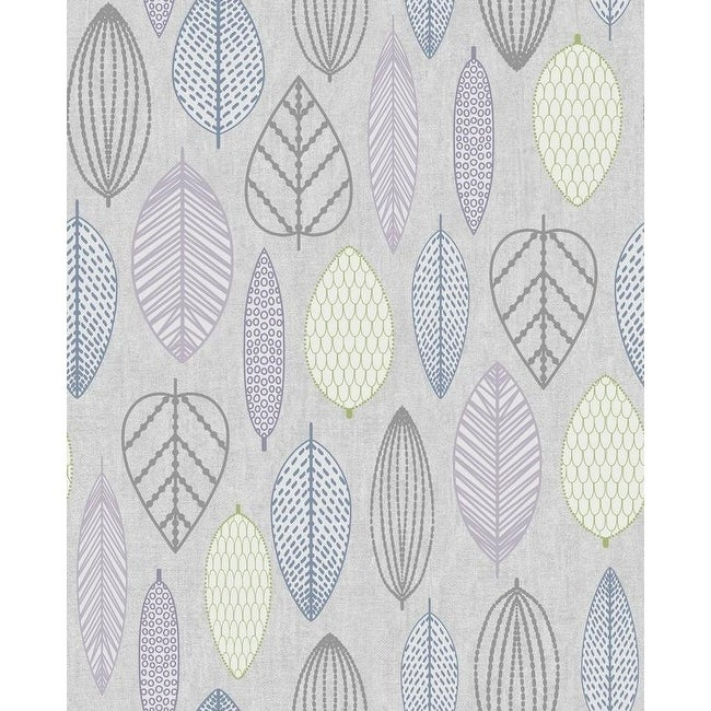 Scandi Leaf Beige Lime Green Taupe Silver Glitter Textured Wallpaper M1255
