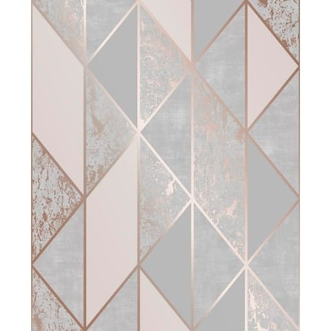 Milan Geo Rose Gold and Grey Wallpaper