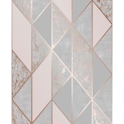 Milan Geo Rose Gold and Grey Wallpaper