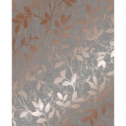 Milan Trail Rose Gold and Grey Wallpaper