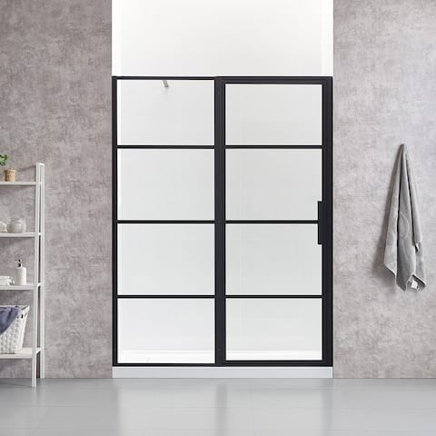 OVE Decors Milano 60 in. Black Framed Hinges Shower Door