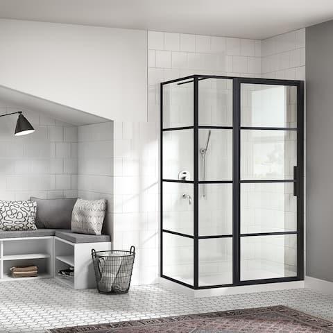 OVE Decors Milano 48x32 in. Black Framed Hinges Shower Door with SP