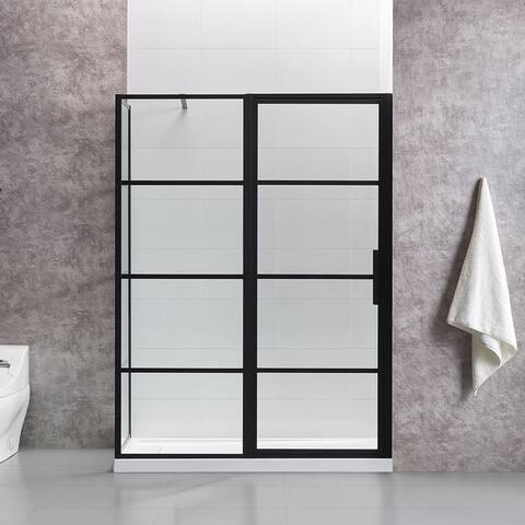 OVE Decors Milano 60x32 in. Black Framed Hinges Shower Door with SP