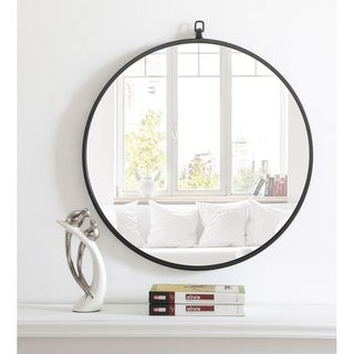 Metal Frame Round Mirror with Decorative Hook