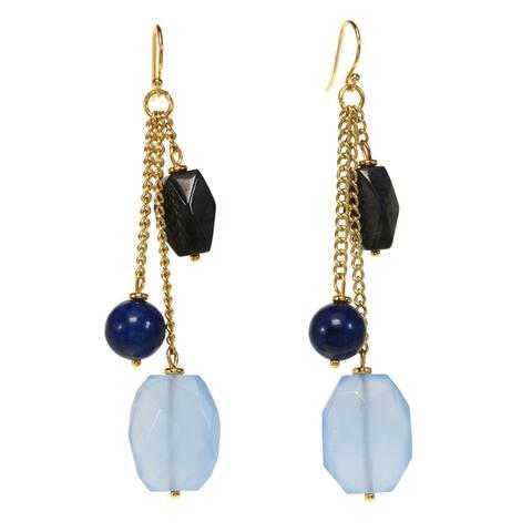 Goldtone Genuine Gemstone Goldtone Genuine Tassel Earrings