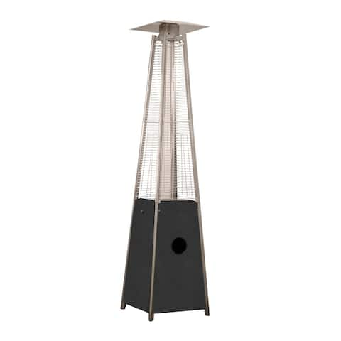 AZ Patio Heaters Glass Tube Patio Heater in Hammered Silver