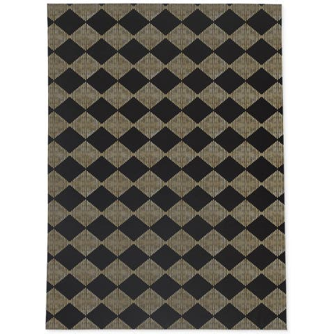 BLOCK PRINT CHECK BOARD IN BLACK AND GOLD Area Rug By Becky Bailey