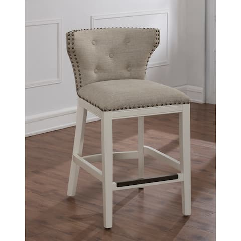Castella White and Beige Counter Stool by Greyson Living (As Is Item)