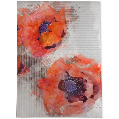 WATERCOLOR POPPIES Area Rug By Jackii Greener