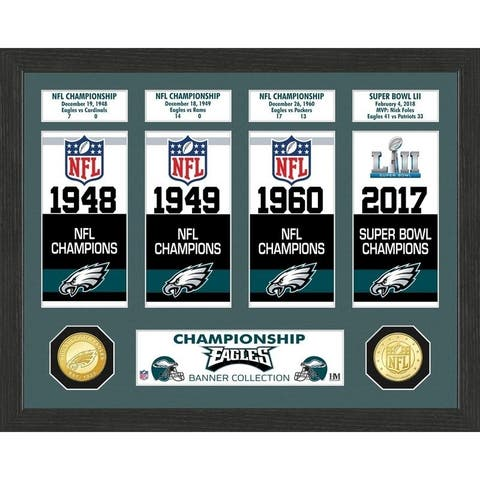 Philadelphia Eagles Super Bowl Banner Collection Bronze Coin Photo Mint