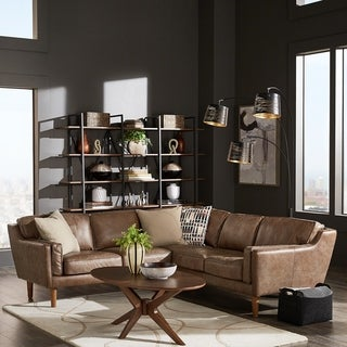 Strick & Bolton Beatnik Leather Sectional in Oxford Tan