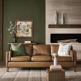 Strick & Bolton Canape 86-inch Oxford Honey Leather Sofa