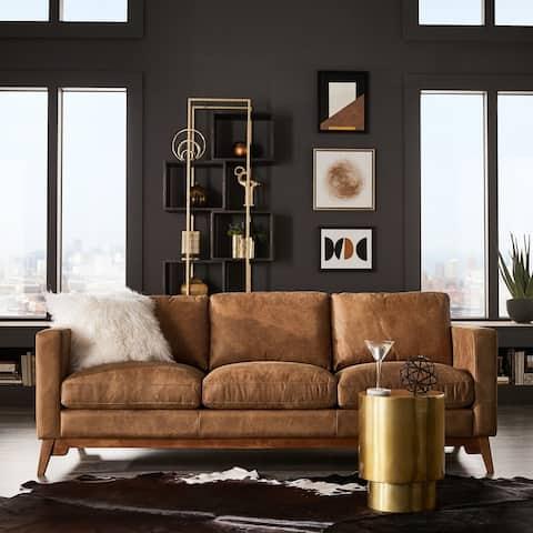 Strick & Bolton Filmore 89-inch Tan Leather Sofa