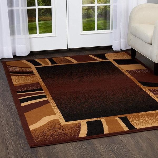 Brown Beige Black Modern Bordered Huge Area Rug 9 2 X 12 5 9 2 X 12 5 Overstock 28963928