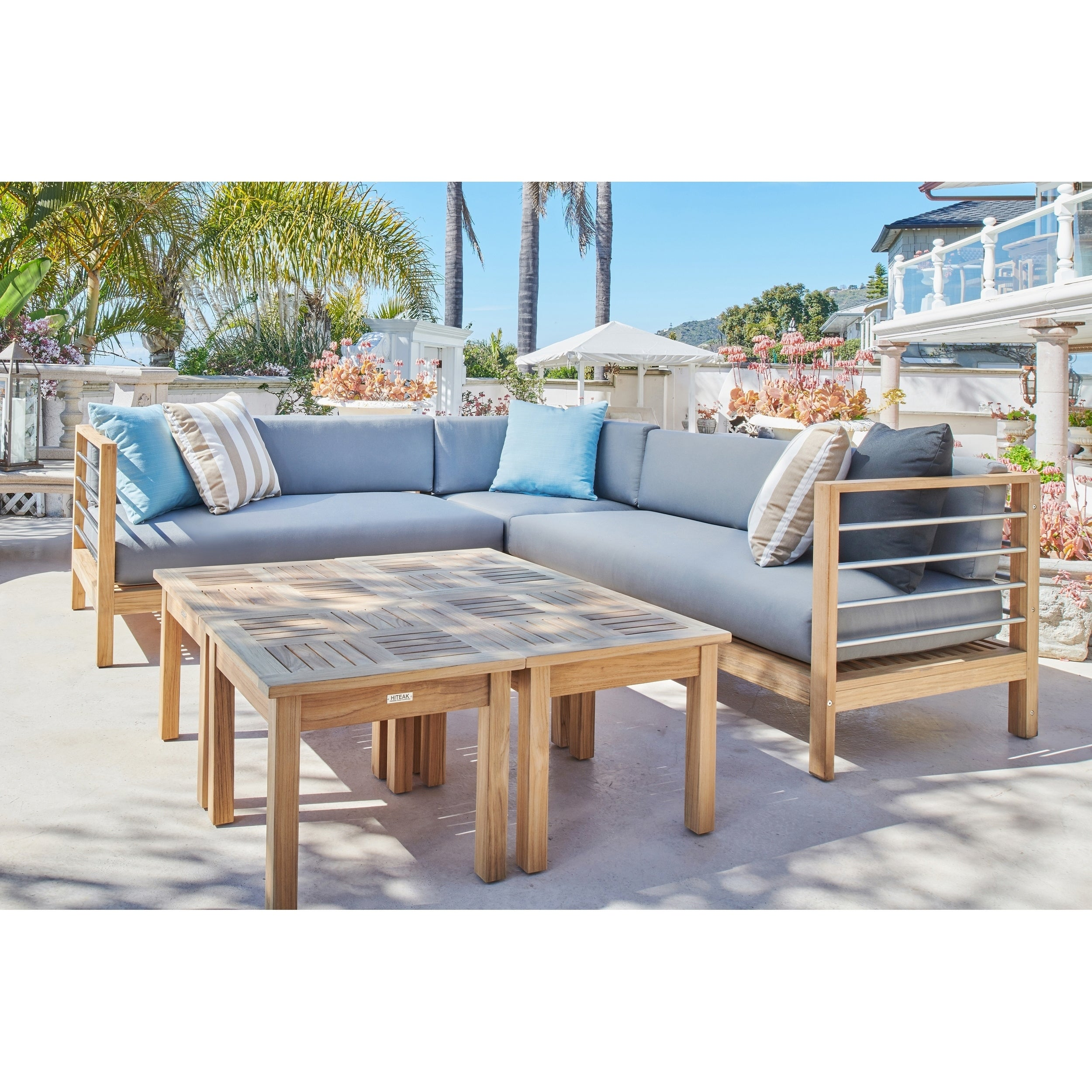 Soho 3 Piece Teak Outdoor Sectional Sofa Set with Charcoal Cushions