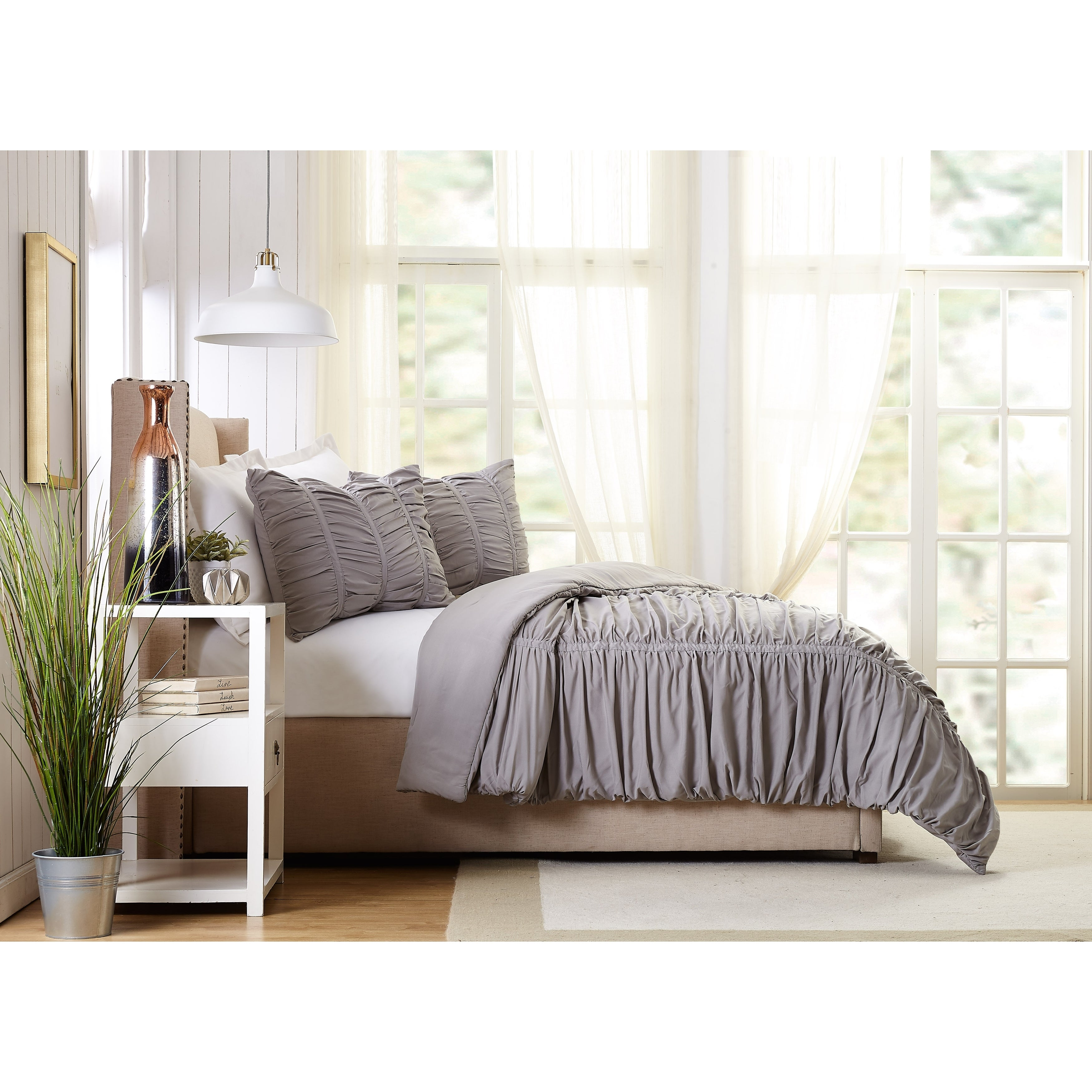 Emily Texture Twin Twin Xl Comforter Set Light Gray Overstock 28964196