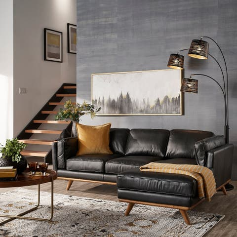 Strick & Bolton Del Ray Leather Sectional in Oxford Black