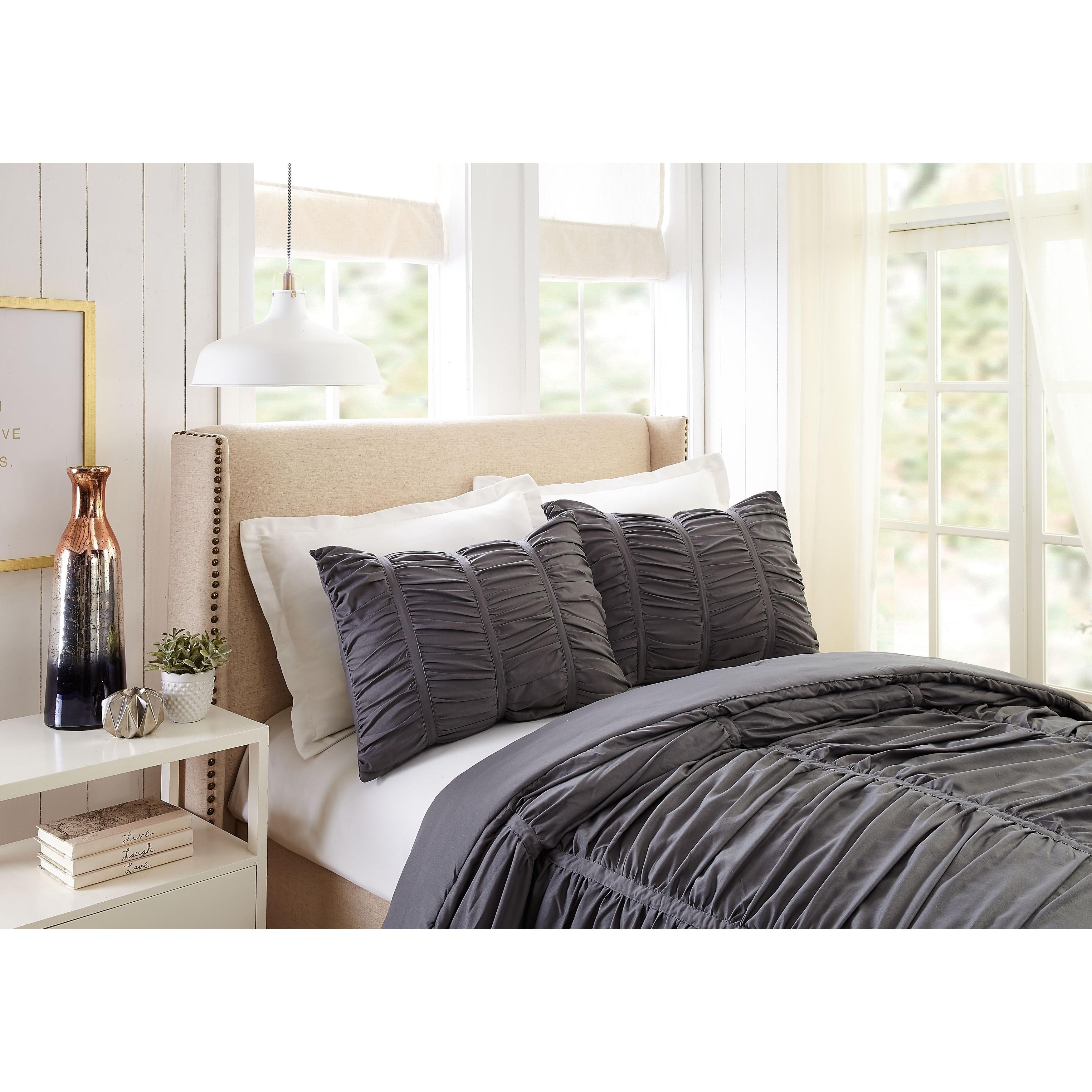 Emily Texture Twin Twin Xl Comforter Set Dark Gray Overstock 28964219