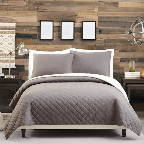 Solid Flannel Sherpa Full Queen Quilt set Charcoal