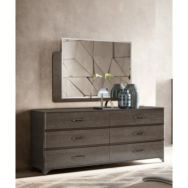 Luca Home Silver Birch Double Dresser and Mirror Set