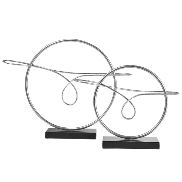 UTC39641 Metal Round Table Ornament Set of Two Metallic Finish Gray