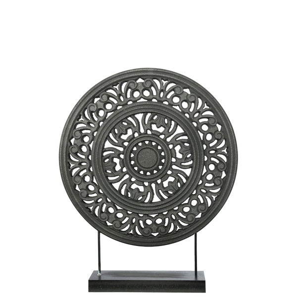UTC17208: Wood Round Ornament with Floral Pattern Wheel Design on Base Stand Matte Finish Black