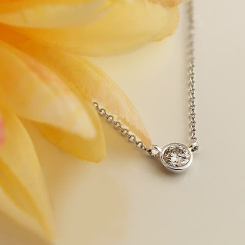 Round 1/4ctw Solitaire Lab Grown Diamond Necklace 14k Gold Bezel-set by Ethical Sparkle
