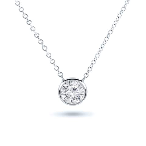 Ethical Sparkle 14k Gold 1/2ct TDW Diamond Lab Created Solitaire Bezel Necklace