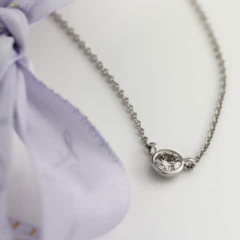 Ethical Sparkle 14k Gold 1/4ct TDW Diamond Lab Created Solitaire Bezel Necklace