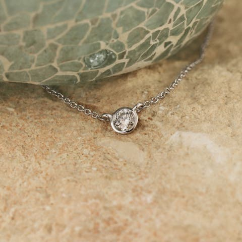 Ethical Sparkle 14k Gold 1/5ct TDW Diamond Lab Created Solitaire Bezel Necklace