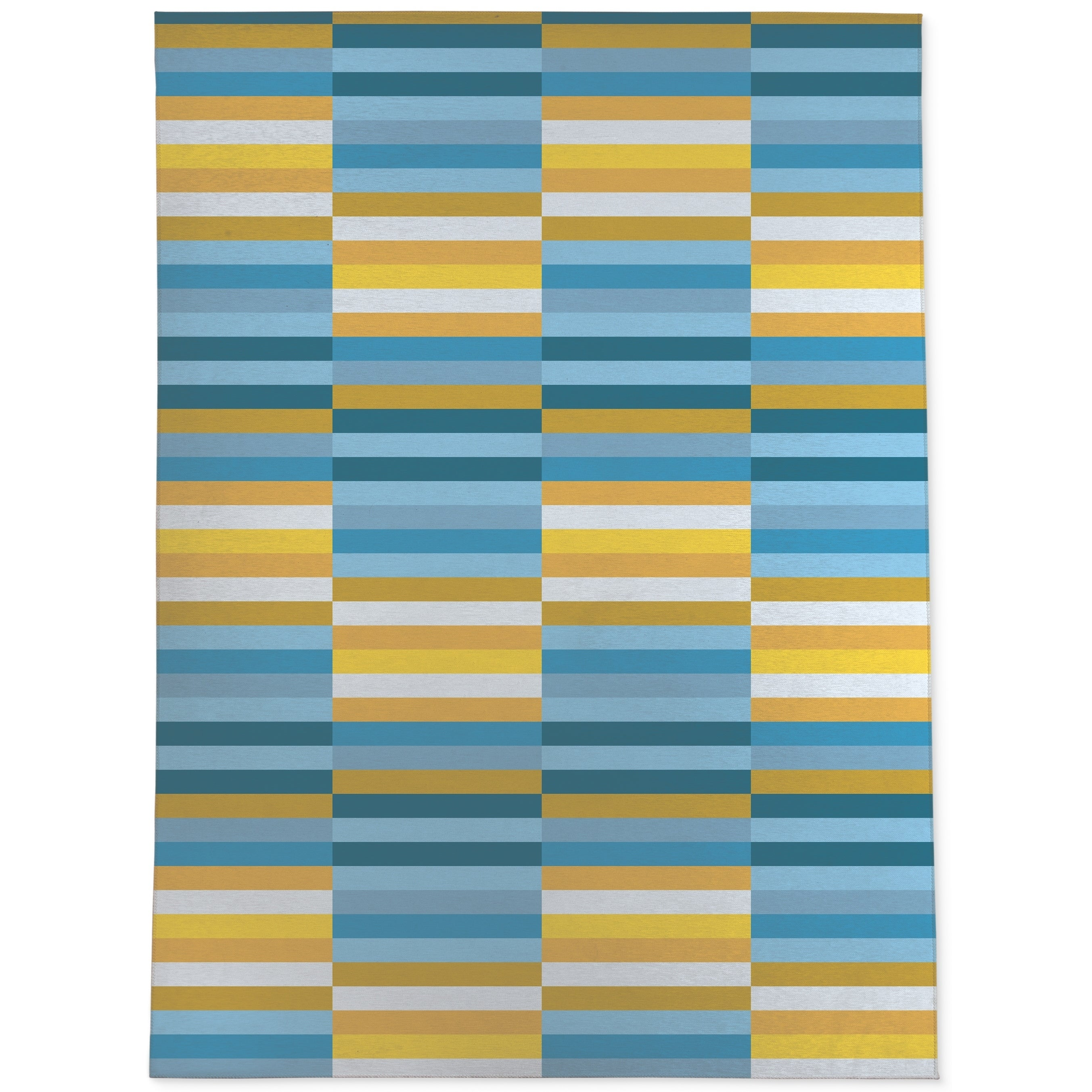 Picture of: Mid Century Stripe Blue Yellow Area Rug By Kavka Designs Overstock 28964479