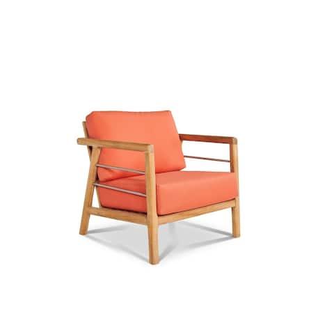 Aalto Teak Deep Seating Outdoor Club Chair with Sunbrella Melon Cushion