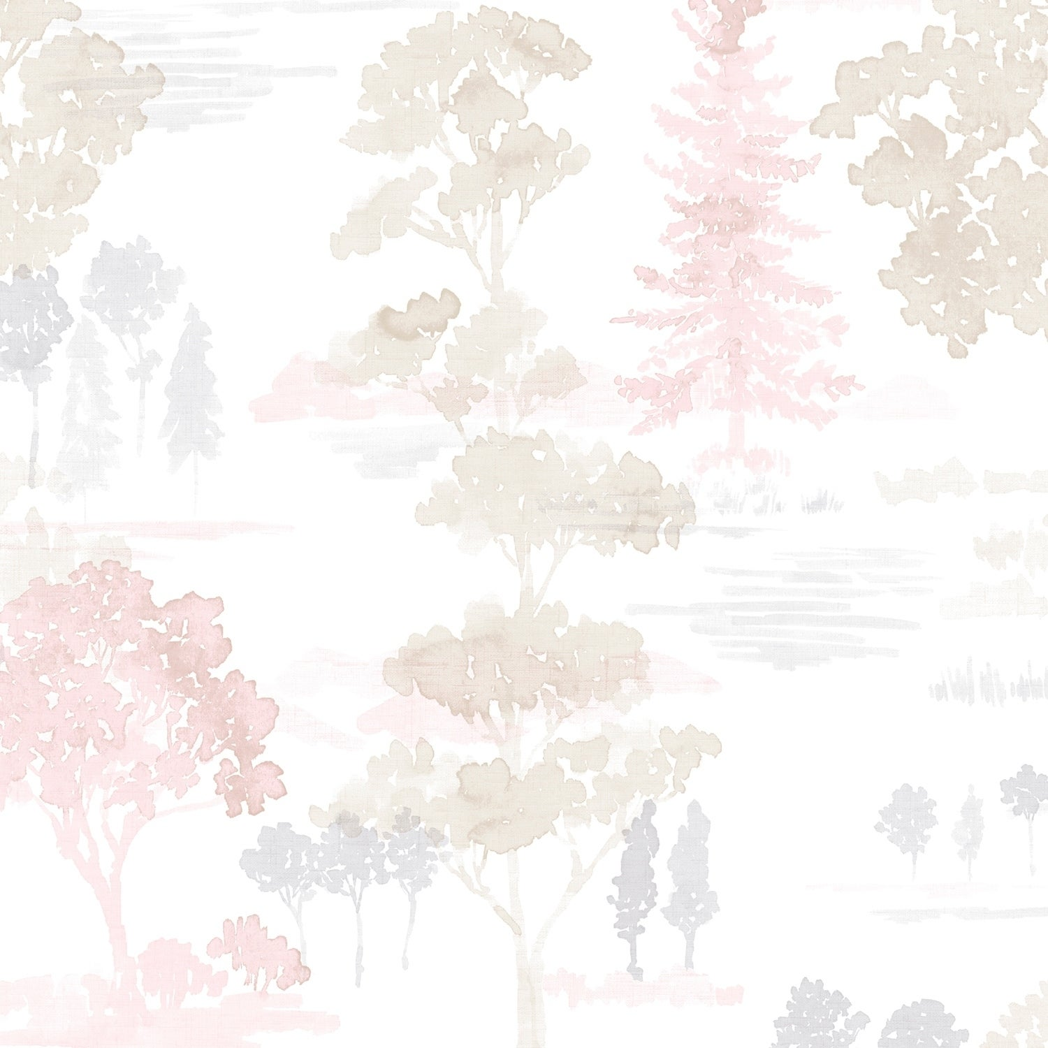 Shop Forest Wallpaper In Pink Beige Lavender Overstock 28964594