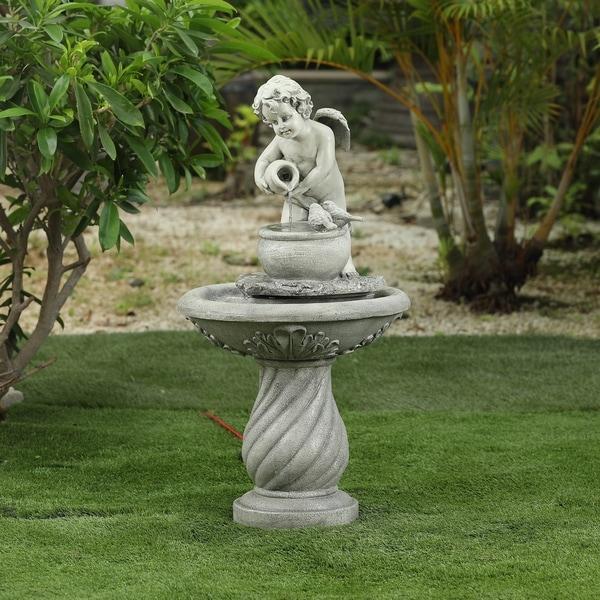 Resin Angel Outdoor Patio Fountain