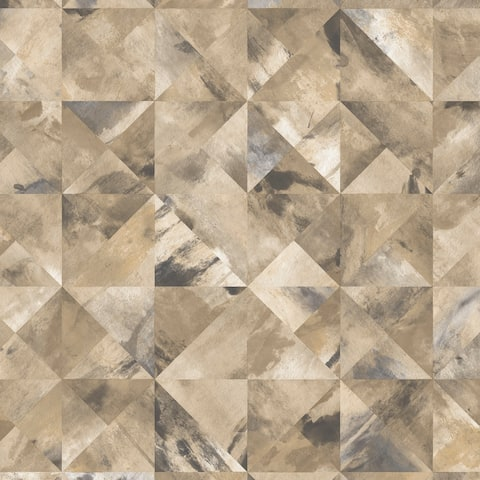 Mosaic Wallpaper in Ochre, Brown & Greys
