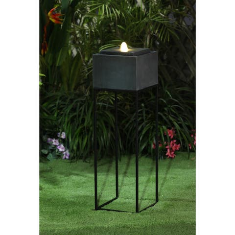 Cement/Iron Raised Stone Finish Outdoor Patio Fountain with LED Light