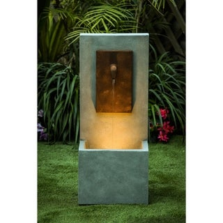 Link to Resin Stone and Brown Finish Outdoor Patio Fountain with LED Light Similar Items in Outdoor Decor