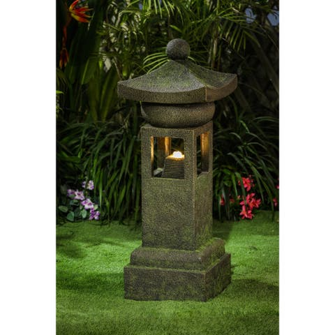 Cement Asian Inspired Pagoda Outdoor Patio Fountain with LED Light