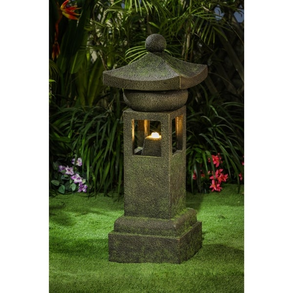 Resin Asian Inspired Pagoda Outdoor Patio Fountain with LED Light. Opens flyout.