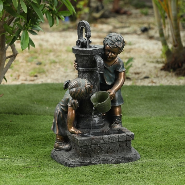 Resin Children and Water Pump Outdoor Patio Fountain. Opens flyout.